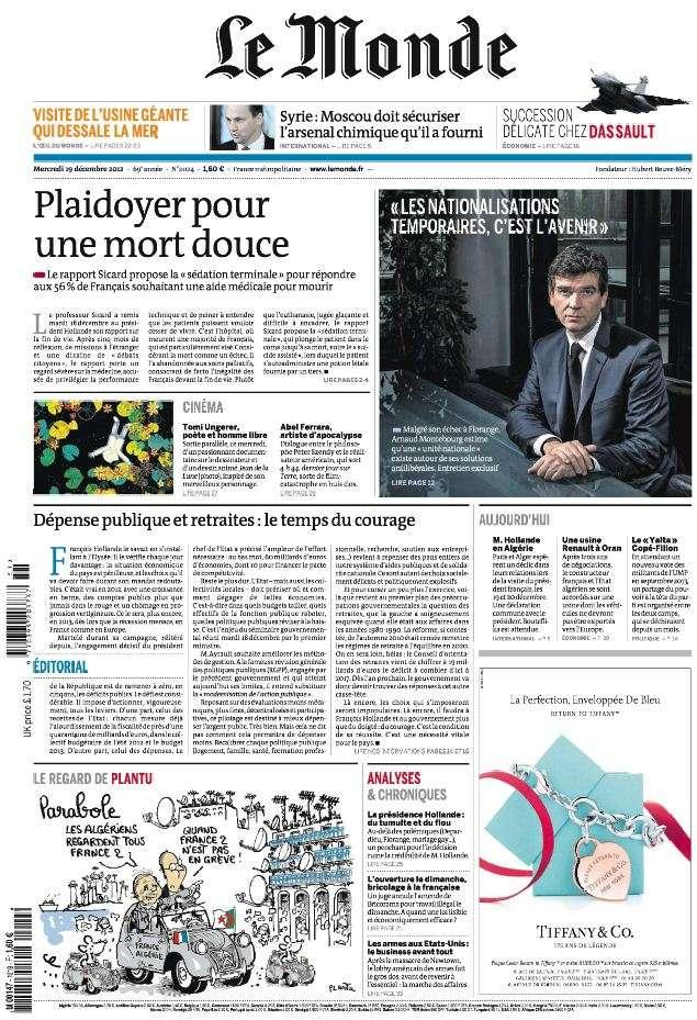 Le Monde Mercredi 19 Décembre 2012