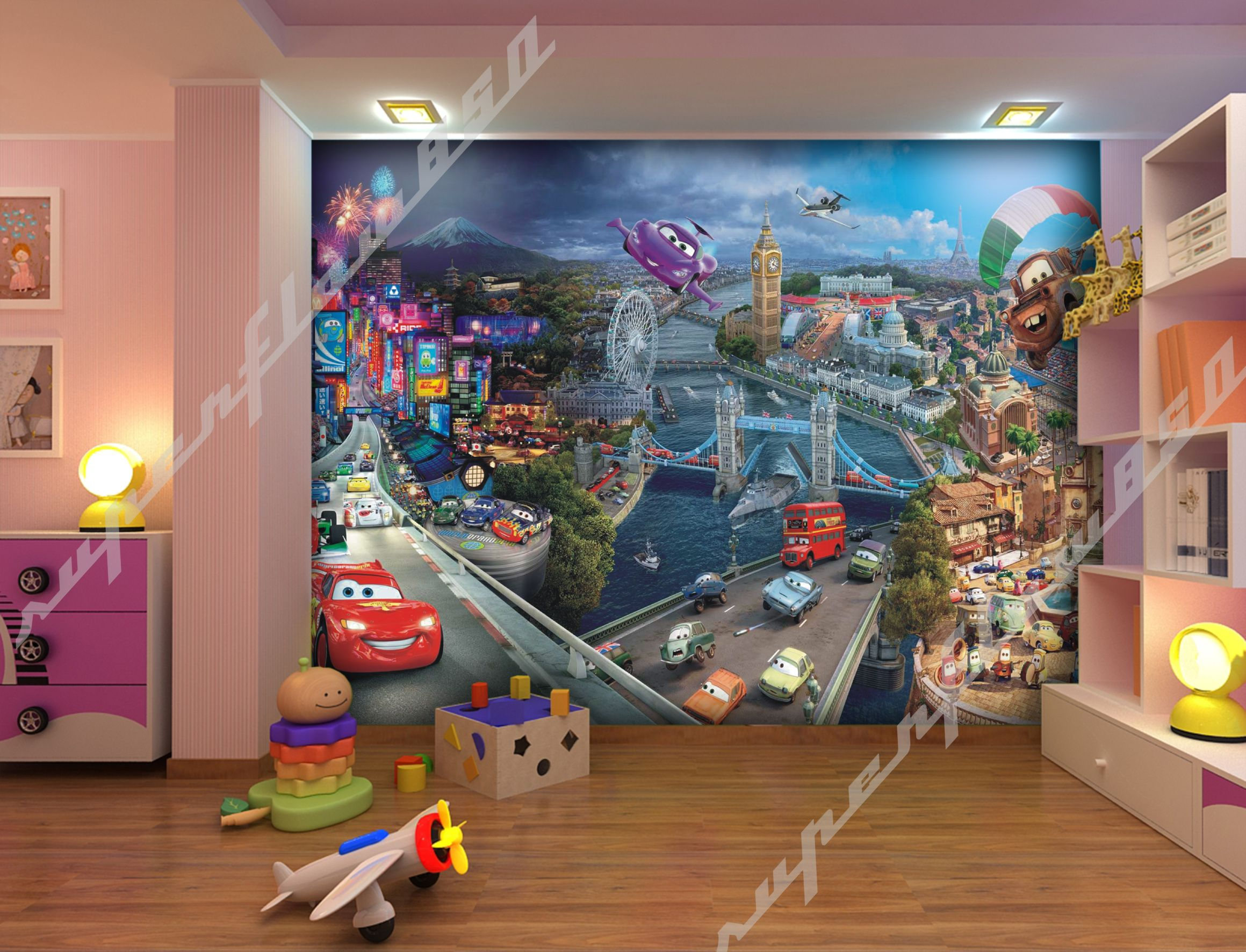 Cars world disney pixar photo wallpaper wall mural kids cars ii disney ebay - Disney pixar cars wall mural ...